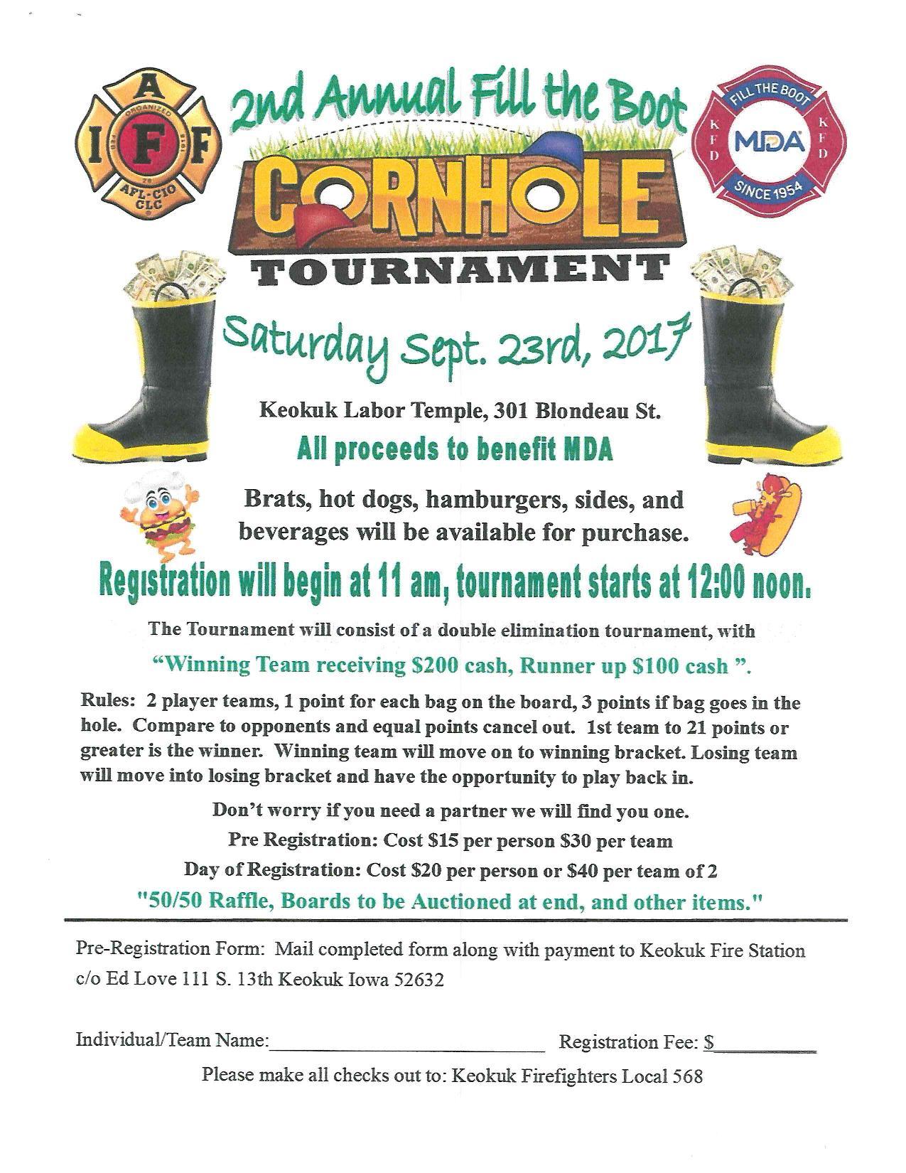 "2nd Annual ""Fill The Boot"" Cornhole Tournament! @ The Labor Temple | Keokuk | Iowa | United States"
